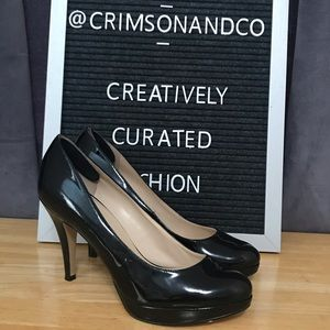 Enzo Anglioni black patent leather heels size 7